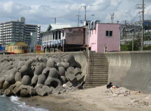 海の間際に建つ、ピンクがかった建物が防波堤の向こう側に見えます。防波堤のすぐ下は、テトラポットが積み重ねられて置いてあります。