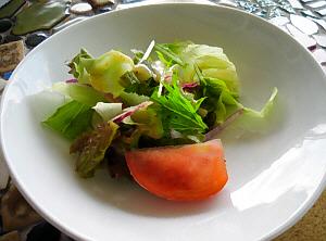 白いお皿に、数種類の緑鮮やかな葉っぱと、真っ赤なトマトが一切れ盛られ、緑と赤の色合いが綺麗です
