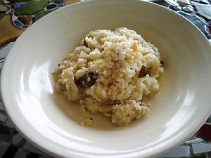 白いちょっとだけ深めのお皿に、白っぽいリゾットが、ちらほら見える黒っぽい色のものは、茸のようです
