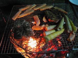 真っ赤に燃えている炭火の網の上に、筍やらシャケのはらす、そしてこんがり焼けたチキンが乗っています。