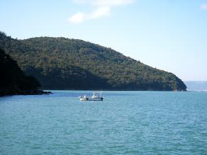 青い海の向こうに、半島の先端が見えます。そして島の手前には小さなボートが漂って。個人用の漁船かも知れません。穏やかな静かな海です。