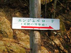 電柱に打ち付けられた白い看板。真っ赤な矢印の上にエンジェルロード(天使の散歩道)と書かれてあります。