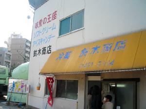 コンクリート壁の一部に窓がついていて、そこが注文と商品の販売所。窓の上には黄色い布の張り出しがあって、冷菓 鈴木商店と書かれてあります。