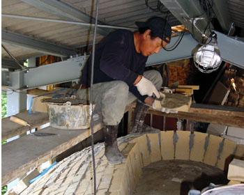 窖窯を作る/頭頂部のレンガ組_c0081499_2111061.jpg