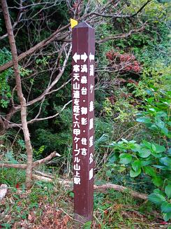 登山道に立てられている道しるべ。左矢印で、寒天山道を経て六甲ケーブル山上駅と書かれています。右の矢印には、渦森台・御影・住吉と。この道しるべの向こう側は谷になっていて、沢の水の音が聞こえていました。