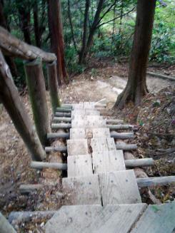 急勾配の坂道に、木の階段が設えてあります。ずーっと下のほうまで坂道が続いています。
