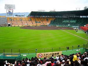 野球場の内部の画像。グリーンの芝が鮮やかです。綺麗に手入れがされているのがわかります。