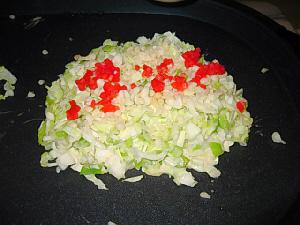 ザクザクと細切れにされたキャベツ、こんもりとプレートの上に置かれ、揚げ玉、紅生姜が乗せられれています。