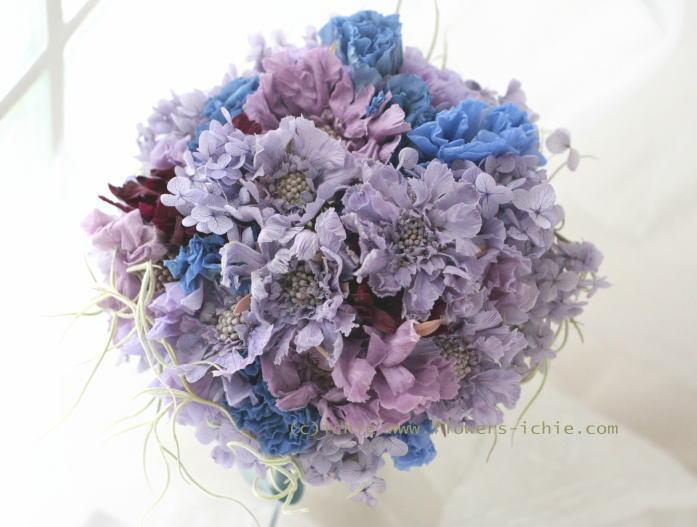 ブーケ プリザーブド 青と紫で_a0042928_23302215.jpg