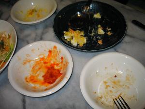 テーブルの上に空っぽになった白いボウルや紺のお皿が4、5個。