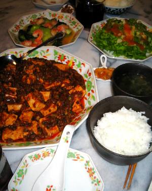"""麻婆豆腐の入った大皿、そして大皿と同じ柄の銘々皿、ご飯にスープ、同じ模様の中皿にはサラダと、青梗菜の炒め物が。"""""""