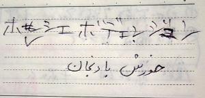 耳で聞いた発音を書きとめ、何度も手直しして書き直した部分が見えます。その下には、まるで記号にしか見えない文字が、ペルシャ語でメニューの名前が書かれているようですが・・・・。