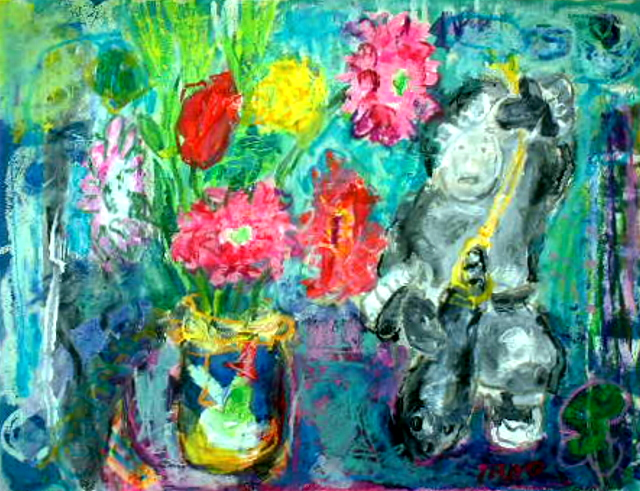 花とイヌイットの置物_a0086270_1271960.jpg