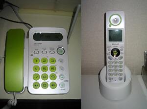 受話器と数字ボタンがライトグリーンの四角型の電話機。本体部分はシルバーです。子機は受話部分に丸い同じライトグリーンのアクセントが入っています。