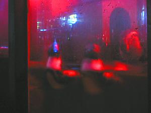 少し暗くて解りにくい写真ですが、二匹のペンギンが水に浮いて音楽に合わせて上下しているように見えます。もう一匹は後ろのほうで寝ているのかな?立ったまま動きません。赤いネオンがついているので、写真も赤っぽいです。