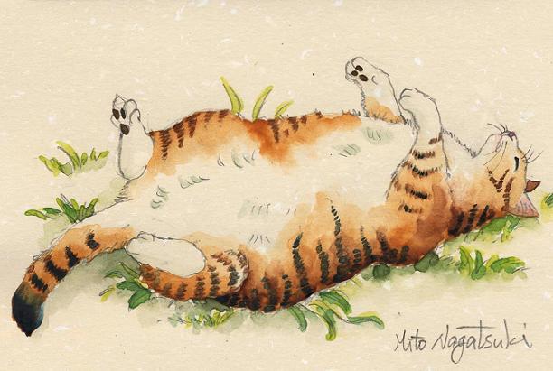 寝る猫 水彩画 _b0089338_122374.jpg