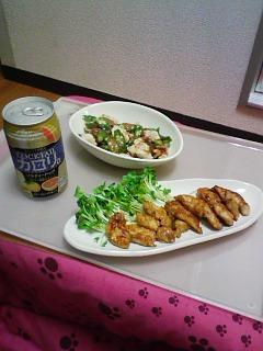 鶏ささ身のにんにくじょうゆ焼き&オクラと鶏ささみの梅がつお和え_c0023353_2332332.jpg
