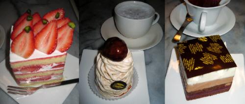 3種類のケーキ。左から苺のショートケーキ。中にも上にもたっぷり苺が使われているケーキです。真ん中はモンブランクリーム。クリームが高く積み重なって、上に大きな栗のグラッセがトッピング。最後は3層になったチョコ味のケーキ。上に薄い板状のチョコが乗っています。