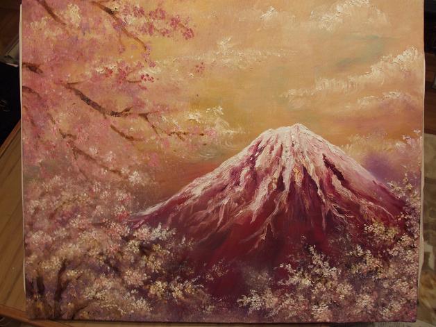 桜舞う富士 油彩途中_b0089338_221756.jpg