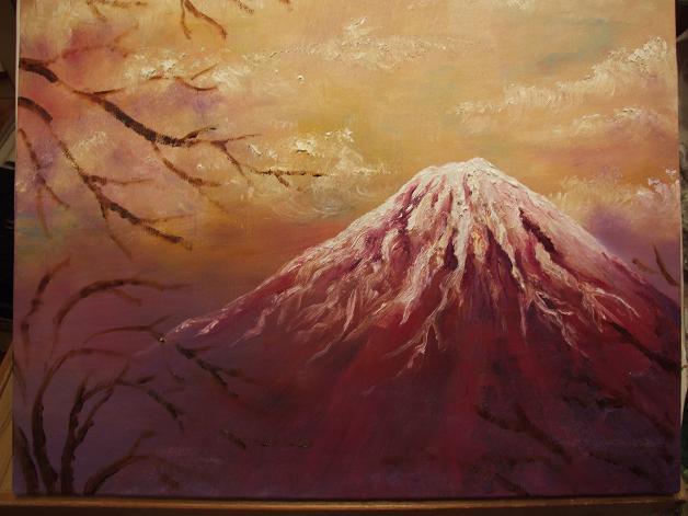 桜舞う富士 油彩途中_b0089338_22788.jpg