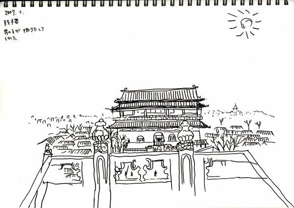 北京のスケッチ 鼓楼_f0072976_22355884.jpg