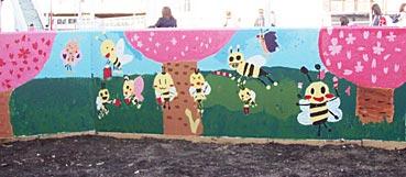 小学校ゲストティーチャー/ブロック塀に絵を描く_f0043592_20234734.jpg