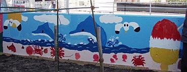 小学校ゲストティーチャー/ブロック塀に絵を描く_f0043592_20242233.jpg