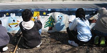 小学校ゲストティーチャー/ブロック塀に絵を描く_f0043592_20341981.jpg