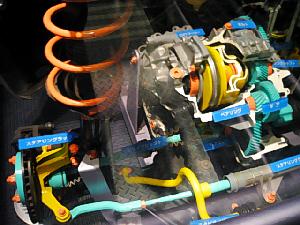 車の中の部品を簡素化して説明つきで展示してあります。実際の車を使用しています。