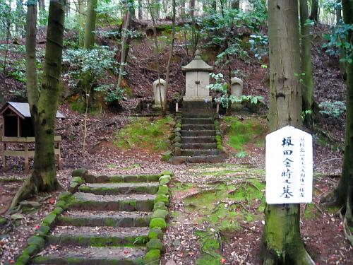 山肌に小さな祠が置かれ、手前の木に坂田金時の墓と書かれた板が打ち付けてあるだけのお墓。あまりにも質素な佇まいに、ちょっと疑問も感じるが・・・・。