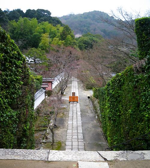 階段を上がったところにある本堂の境内から、参道を見下ろして撮った一枚。真っ直ぐに伸びている石畳が綺麗です。向こうの山間の濃い緑、お寺の敷地の鮮やかな緑、ちょこっとつぼみをつけている桜と、木々の色合いが美しいです。