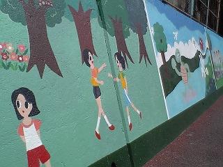 JR中野東駅前の長ーい壁画にびっくりほっこり_b0095061_7244416.jpg