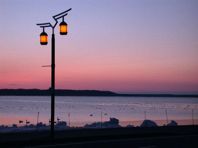 早春の北海道半周紀その3:浜頓別クッチャロ湖の夕焼け_e0100772_23493097.jpg