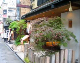 数軒歩くと今度は完全に和風な植木を飾りに配したレストラン。