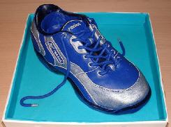 片方だけのブルーのスニーカー。アクセントのラインのシルバーが光っています。靴紐もブルーで合わせてあります。が、どうして片方だけ?