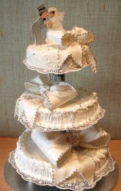 白いウェディングケーキ。白とシルバーのアラザンのみの装飾ですが、大きなリボンが可愛らしい3段のケーキ。上段には新郎新婦のモチーフが飾られてあります。