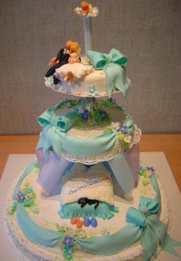 白の土台に、薄い水色のリボン、下段にはダブルベッド、そして上段では新郎新婦が腰を下ろし夜空を見上げているところが。可愛い綺麗な3段のケーキです。