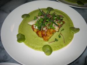 白い丸い平皿に黄緑色のソースが敷かれ、真ん中にジャガイモのソテー、その上に白身の魚、その上にレッド貝割菜、その上に細い飾りネギが乗っています。ソースの周りにソラマメがアクセントに並んでいます。
