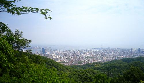 山間から神戸の町並みの一部が見えています。緑の木々の間から見える町並みは、その色のコントラストで一層綺麗です。