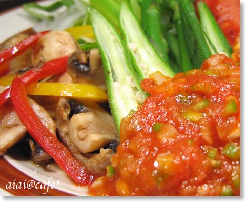 サルサソースで♪ソーセージと野菜のプレート_a0056451_1402269.jpg