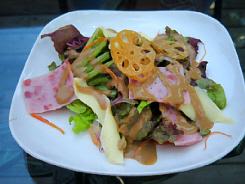四角い白いお皿に盛られらサラダ。揚げた蓮根がアクセントになっています。ハム、サニーレタスや各種リーフ類、チーズ等が盛り込まれています。