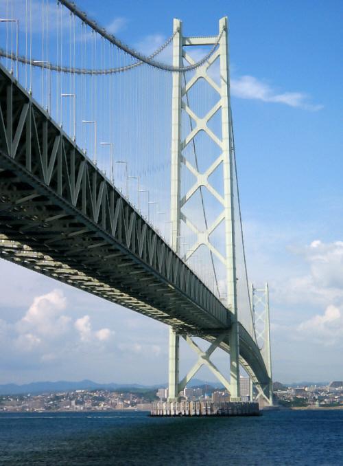 橋を支えるブリッジの部分のアップ画像。太いワイヤーで吊ってあるのが見て取れます。対岸の町並みがくっきりと浮かび上がって、ブリッジが青空の中に聳え立っています。美しい橋ですね。