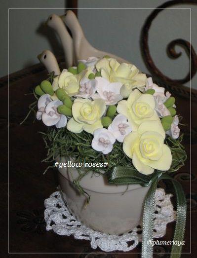 。。yellow roses~クレイフラワー。。_f0130841_13474230.jpg
