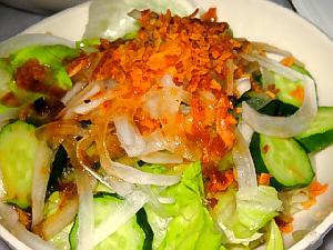 サラダのアップ画像。きゅうりやレタスの緑の上に、フライドオニオンの茶色い色がアクセント。