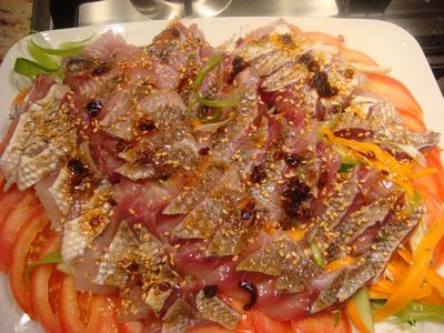 鯛で刺身を2色、2食・・・_d0100880_13663.jpg