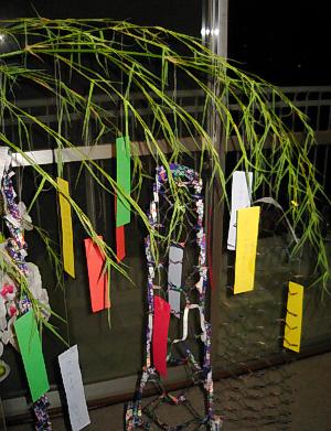 笹の葉に、色とりどりの短冊が下げられています。網状に飾り切りしたものも。