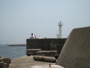 防波堤の先端には小さな白い灯台、これはどの港も同じ光景ですね。家族連れがのんびり竿を出して、釣りを楽しんでいます。