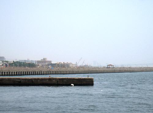 私たちのいる防波堤とは反対側の方には、釣りのできるスペースが作られ開放してあります。手摺でずーっと囲われ、海に突き出したベランダのように見えるところから、林崎ベランダと呼ばれているようです。