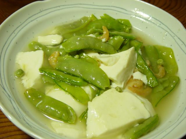 絹さやと豆腐の葛煮…_b0093660_20282246.jpg