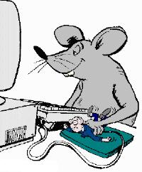 パソコンのモニタの前で、ネズミが人間を手に持って、マウスのように扱っているイラスト。とぼけたネズミの顔と、サラリーマン風の人間の逆転が面白い構図です。